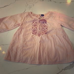 Girls 4T Pink Blouse with Embroidered Front